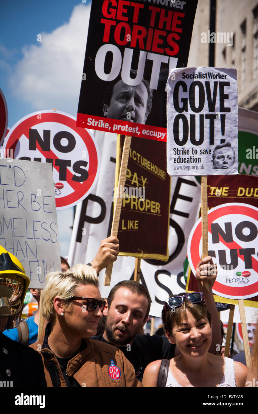 Caroline Lucas MP at  People's Assembly march/ rally 'No More Austerity', June 21, 2014 London - Stock Image