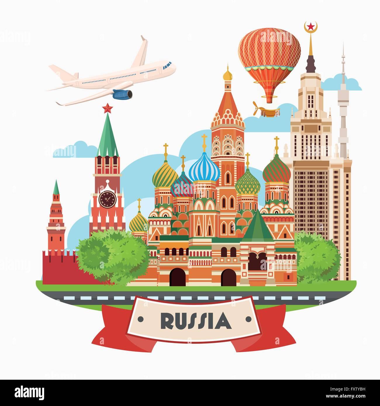Russia Vector Poster. Russian Background With City