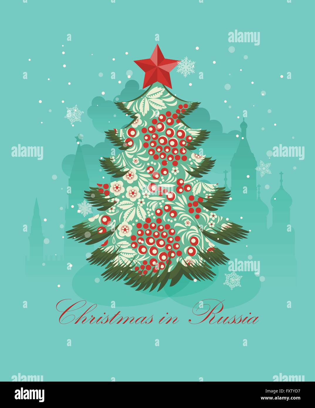 Christmas Greeting Card With Russian Christmas Tree Stock Vector Art
