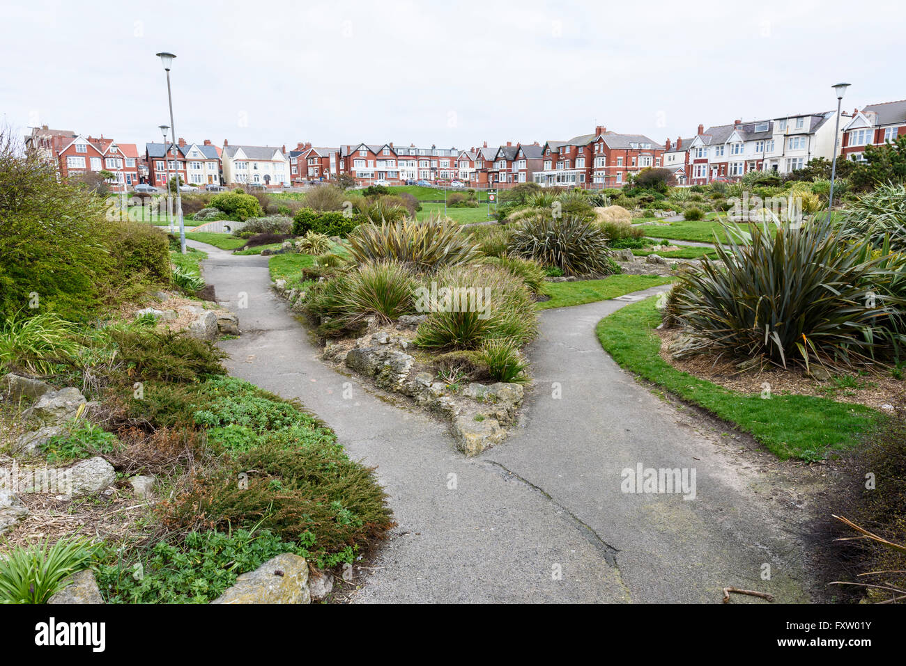 View across Gynn Park, a public open space in Blackpool, Lancashire - Stock Image