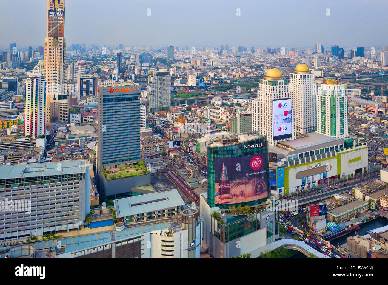 Bangkok Cityscape at twilight as sen from the Red Sky Bar,360-degree panoramic vistas from its 55th floor, - Stock Image