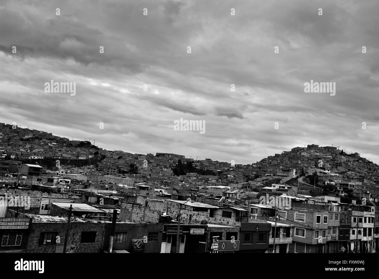 A view of a shanty town, where a majority of house churches and religious communities are located, in Bogota, Colombia. - Stock Image