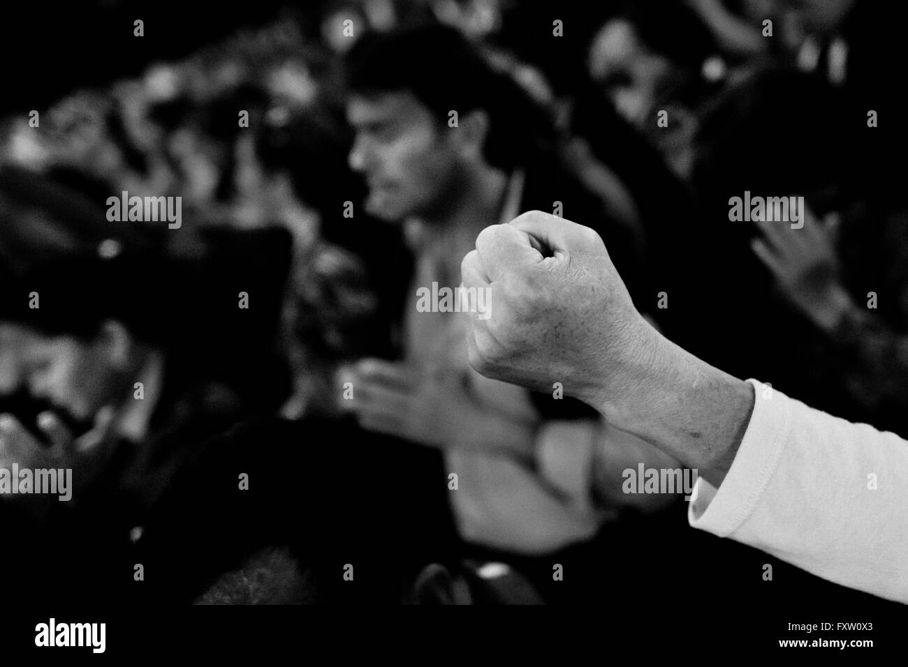 A raised fist of a Christian believer is seen during the religious healing ritual performed by pastors in Bogota, - Stock Image