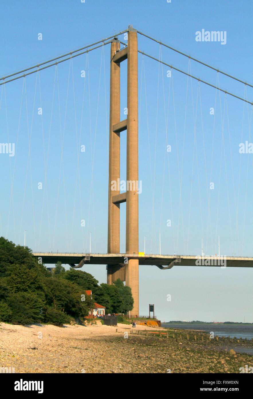 HUMBER BRIDGE NORTH BANK SUPPORT TOWERS HESSLE HULL ENGLAND 30 June 2014 - Stock Image