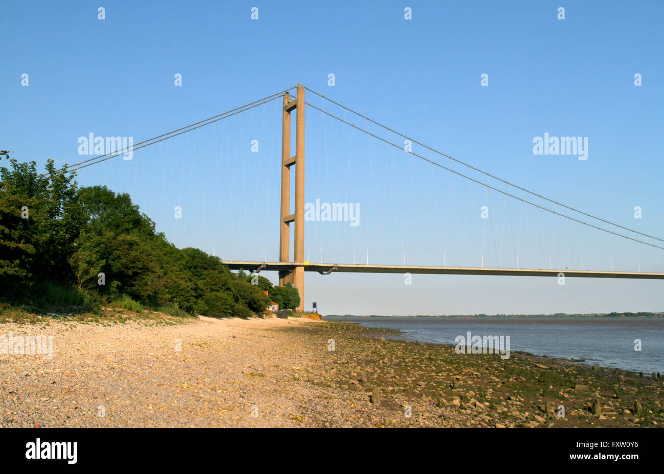 HUMBER BRIDGE HESSLE HULL ENGLAND 30 June 2014 - Stock Image