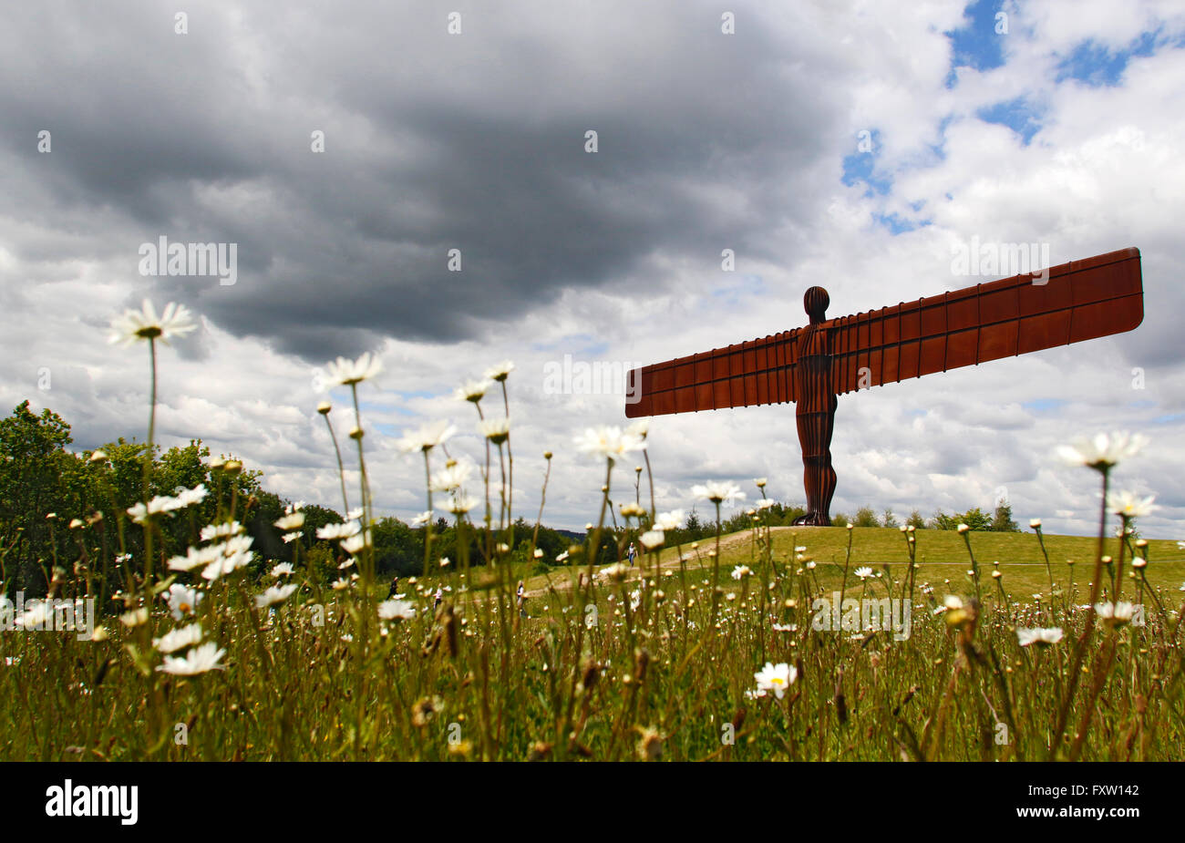 ANTONY GORMLEY SCULPTURE THE ANGEL OF THE NORTH GATESHEAD & TYNE AND WEAR 09 June 2015 - Stock Image