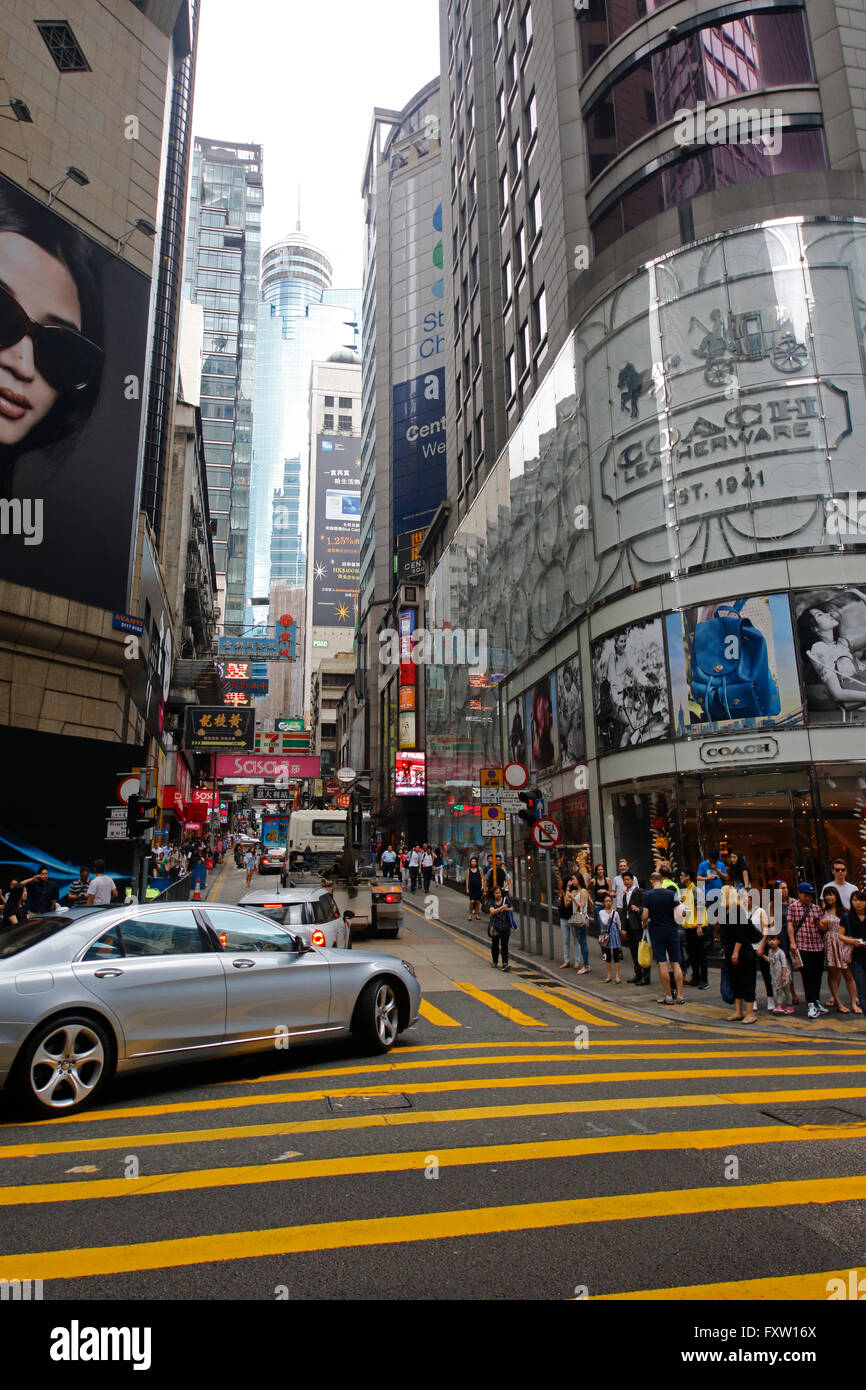 QUEENS ROAD JUNCTION WITH D'AGUILAR STREET CENTRAL HONG KONG ASIA 02 May 2015 - Stock Image