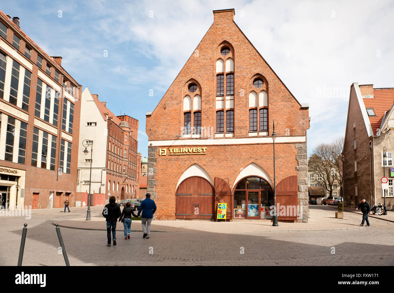 TB Invest firm in Gdansk, Old Town, red bricks building at popular tourist place in Poland, Europe, sightseeing - Stock Image