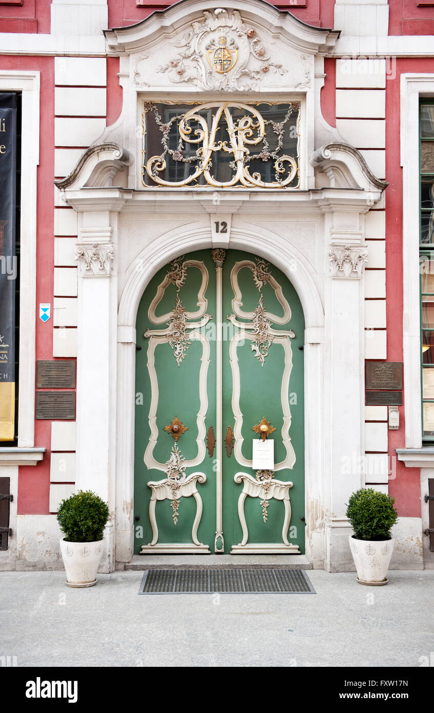 Dom Uphagena green doors in Gdansk, Uphagens House front entrance of the museum at the Dluga 12 Street, decorative - Stock Image