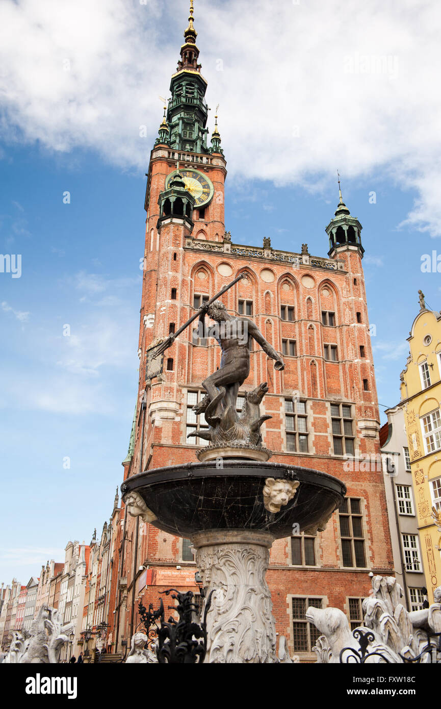 Neptunes Fountain at the Long Market, Fontanna Neptuna in Gdansk at Dlugi Targ Street, the Main Town Hall building Stock Photo