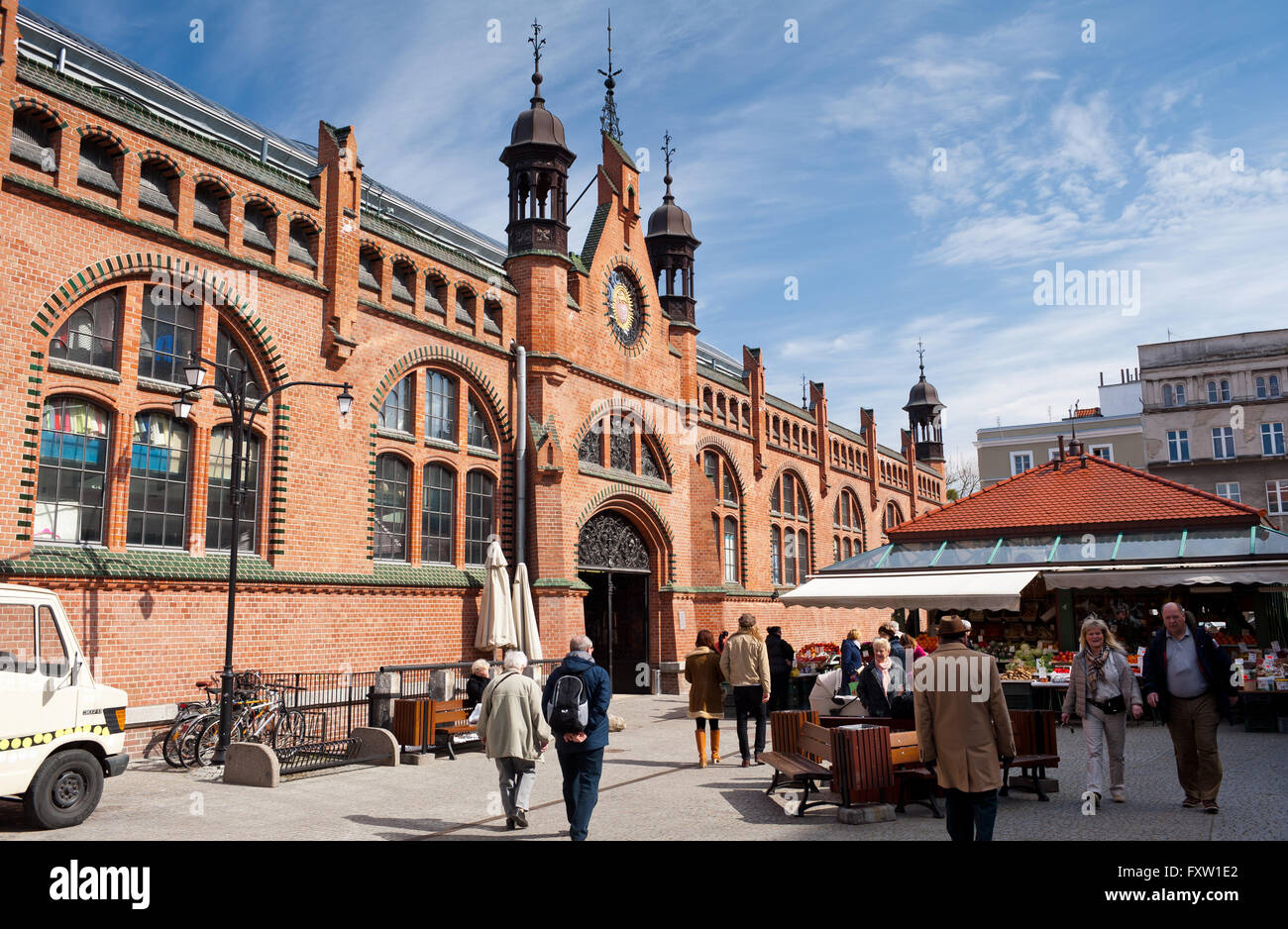 Hala Targowa in Gdansk, the Covered Market building exterior from 1896 in Danzig, tourist sightseeing architecture Stock Photo