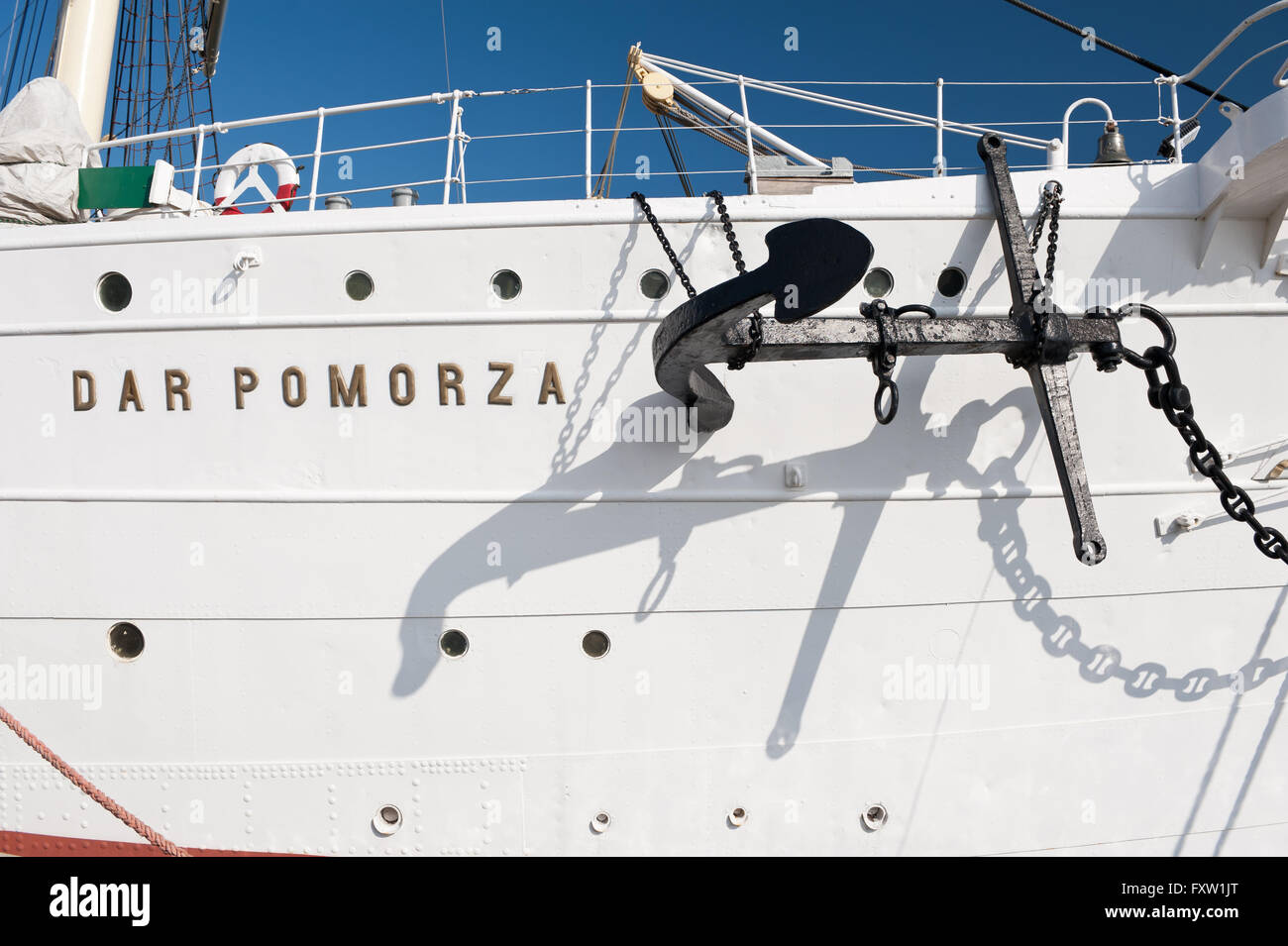 Anchor on the Dar Pomorza ship side in Gdynia, Poland, Europe, the Baltic Sea, legendary The White Frigate Polish - Stock Image