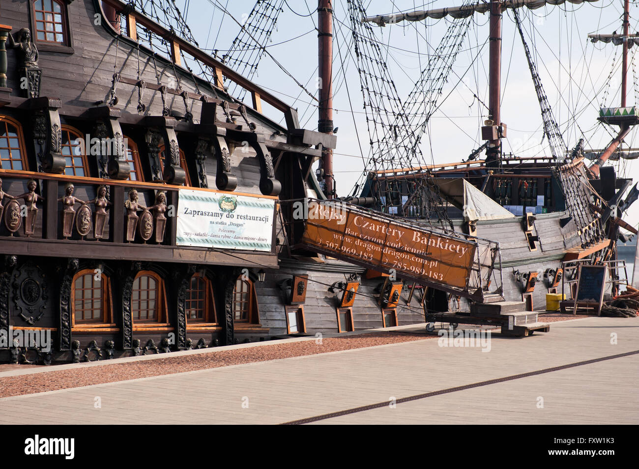 Dragon passenger vessel entrance in Gdynia, Poland, Europe, the Baltic Sea, accommodation ladder to the cruise ship - Stock Image
