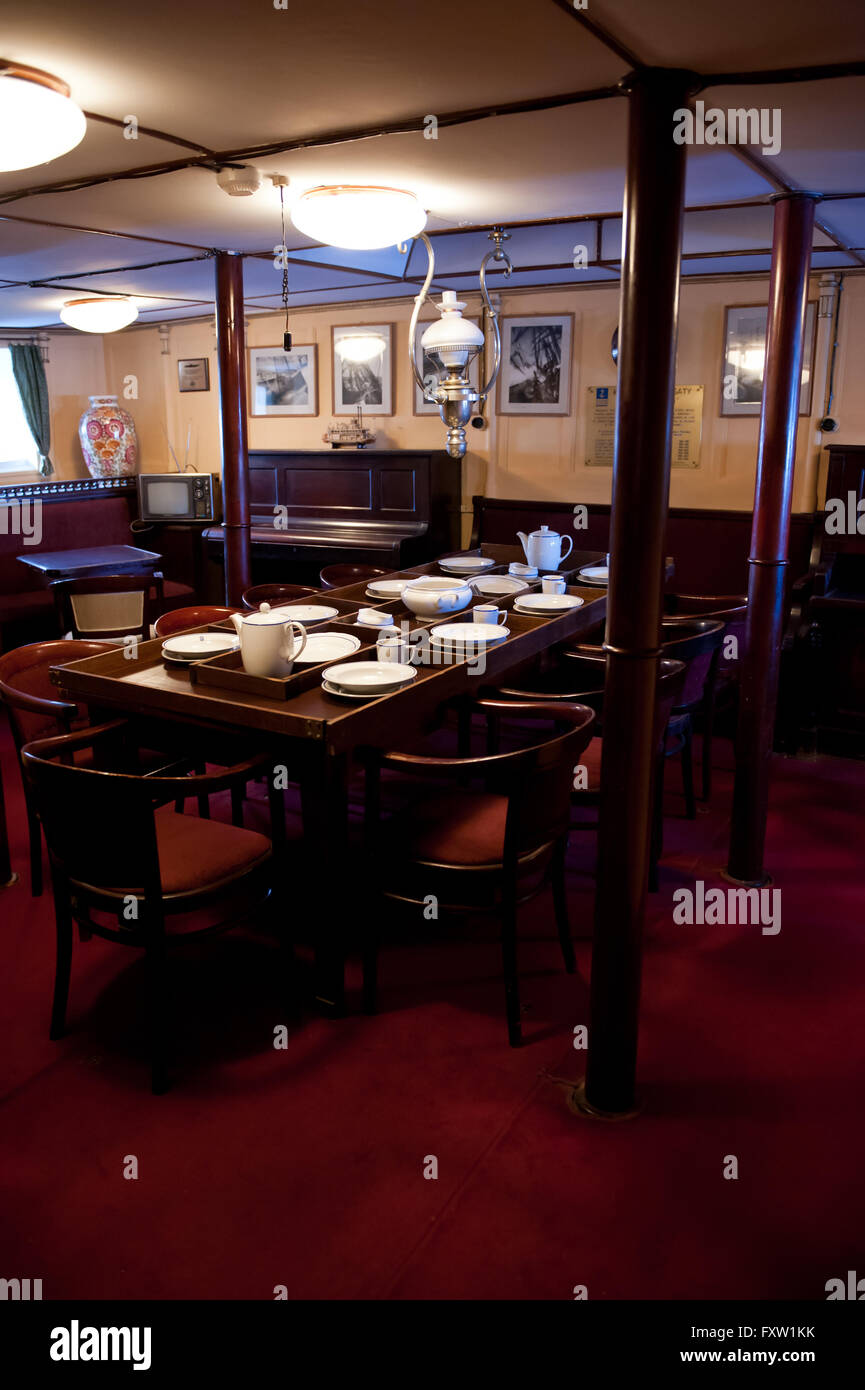 Wardroom mess cabin on ship in Dar Pomorza, room interior at the sailing vessel in Gdynia, Poland, Europe, legendary - Stock Image