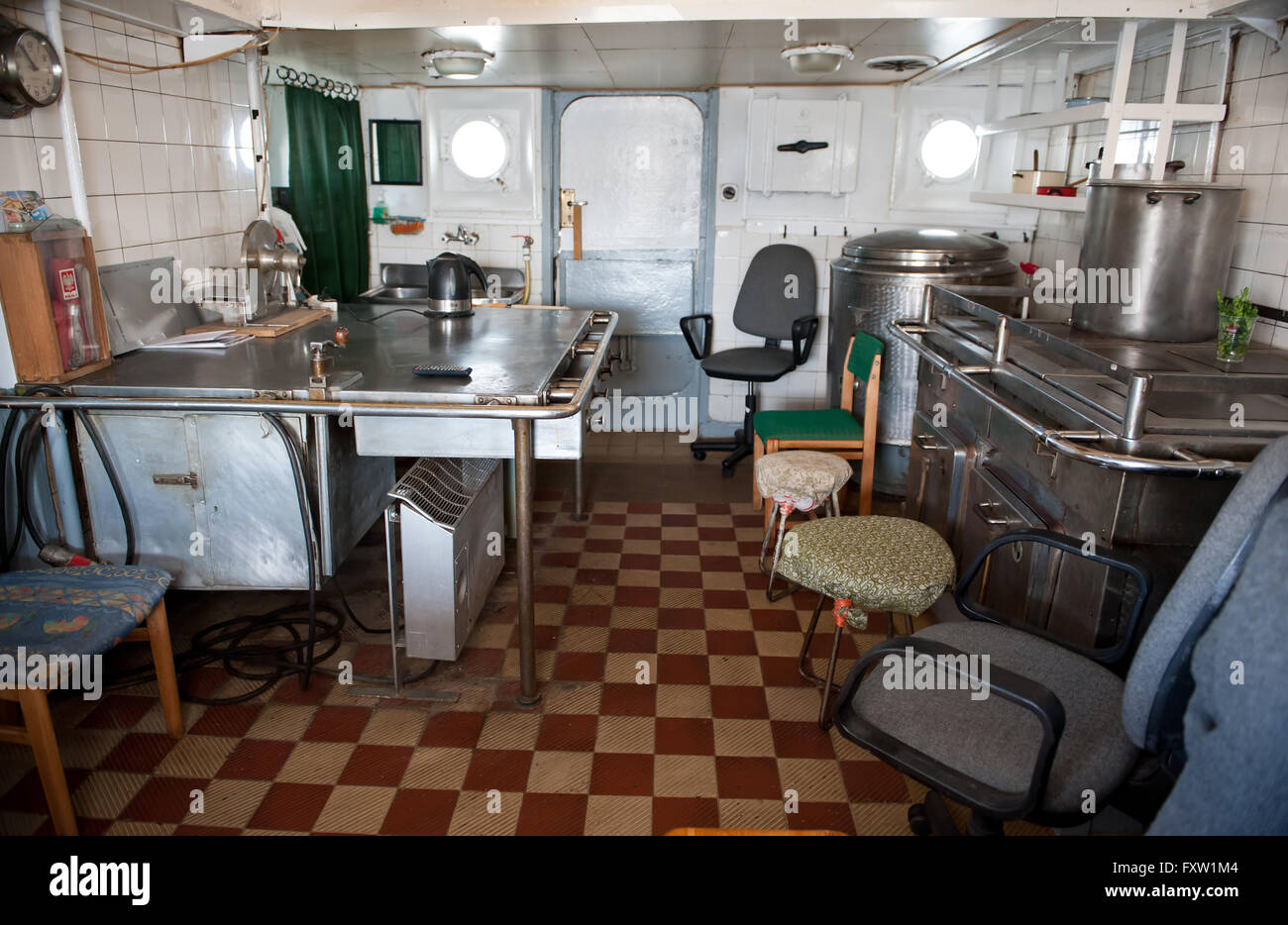 Galley Cabin In Dar Pomorza Ship Kitchen Room Interior At