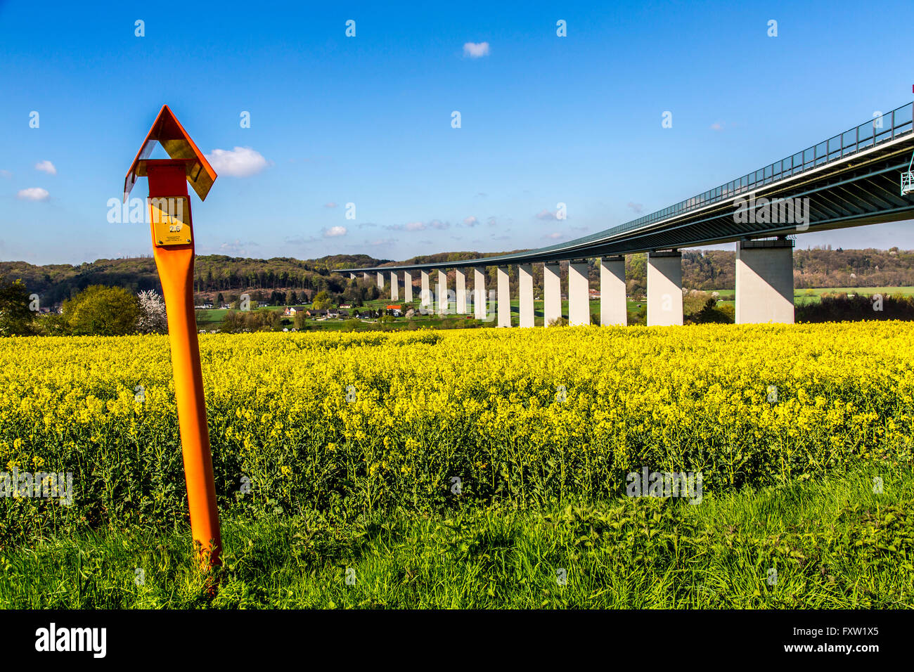 Marker sign of a long distance gas pipeline, Mülheim, Germany - Stock Image