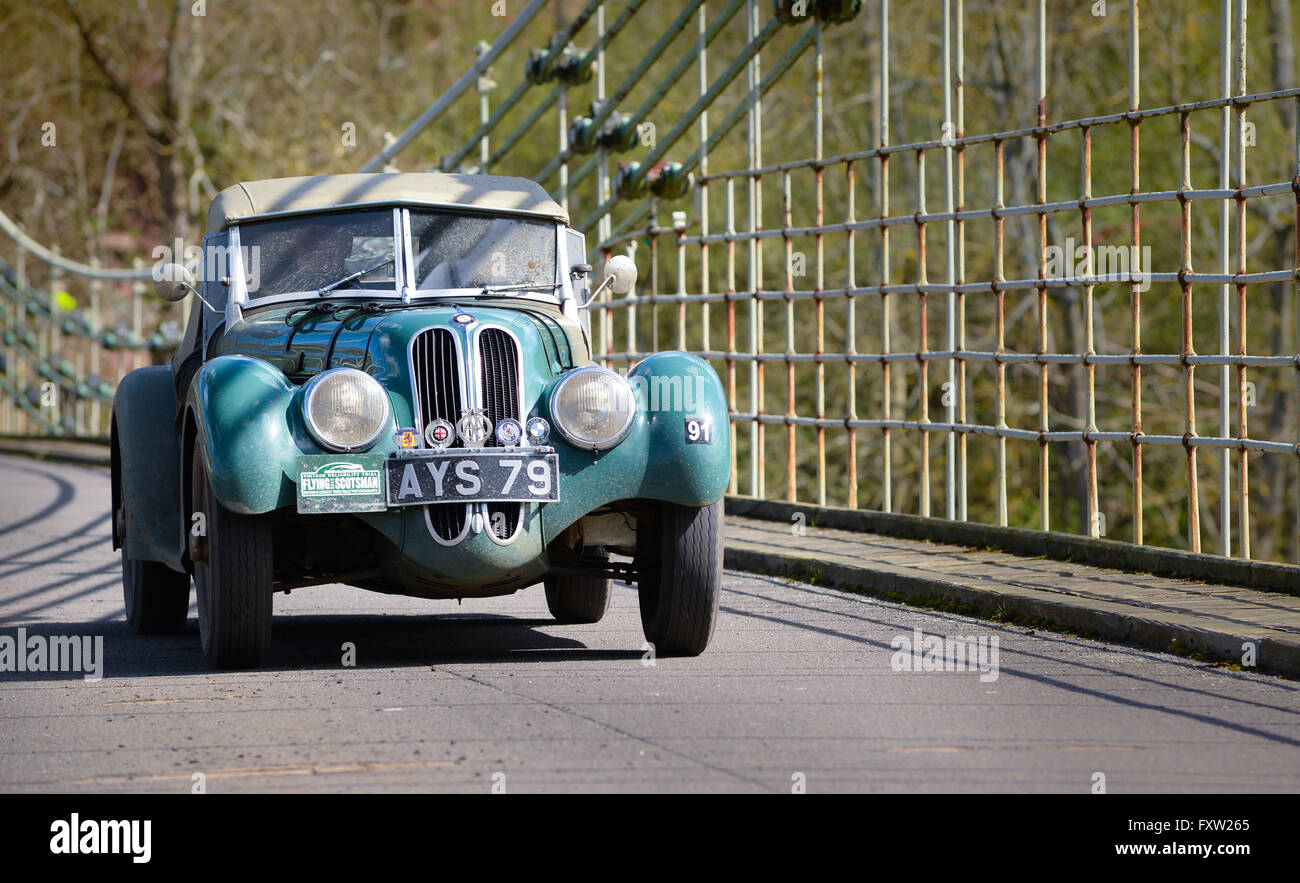 The 8th Flying Scotsman Rally crossing the Scottish Border over the Union Chain Bridge, Horncliffe, Northumberland. - Stock Image