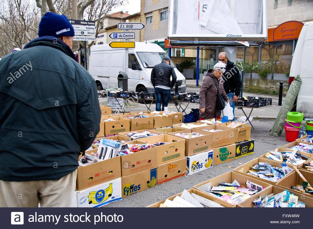 Traditional Market, Arles, Bouches du Rhône, Provence, France - Stock Image