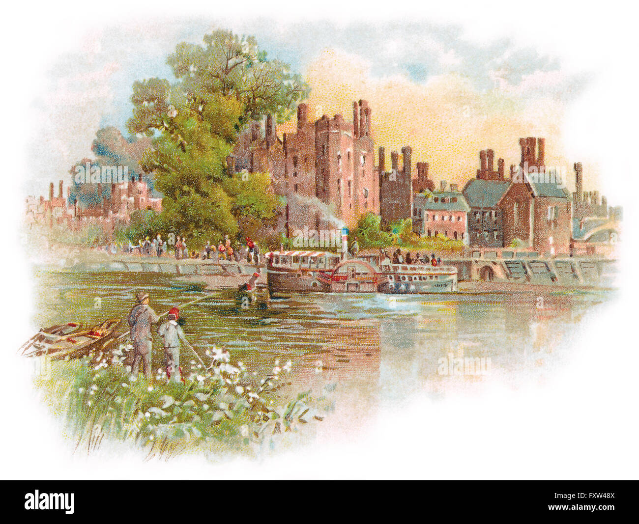 Edwardian illustration of Hampton Court Palace and the River Thames. - Stock Image