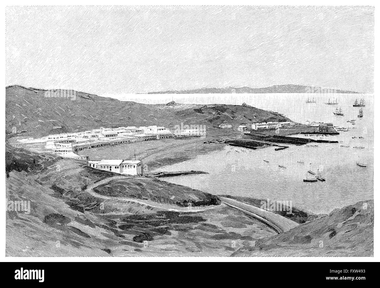 1891 black and white engraving of the port of Aden on the Arabian peninsula in what is now Yemen. - Stock Image