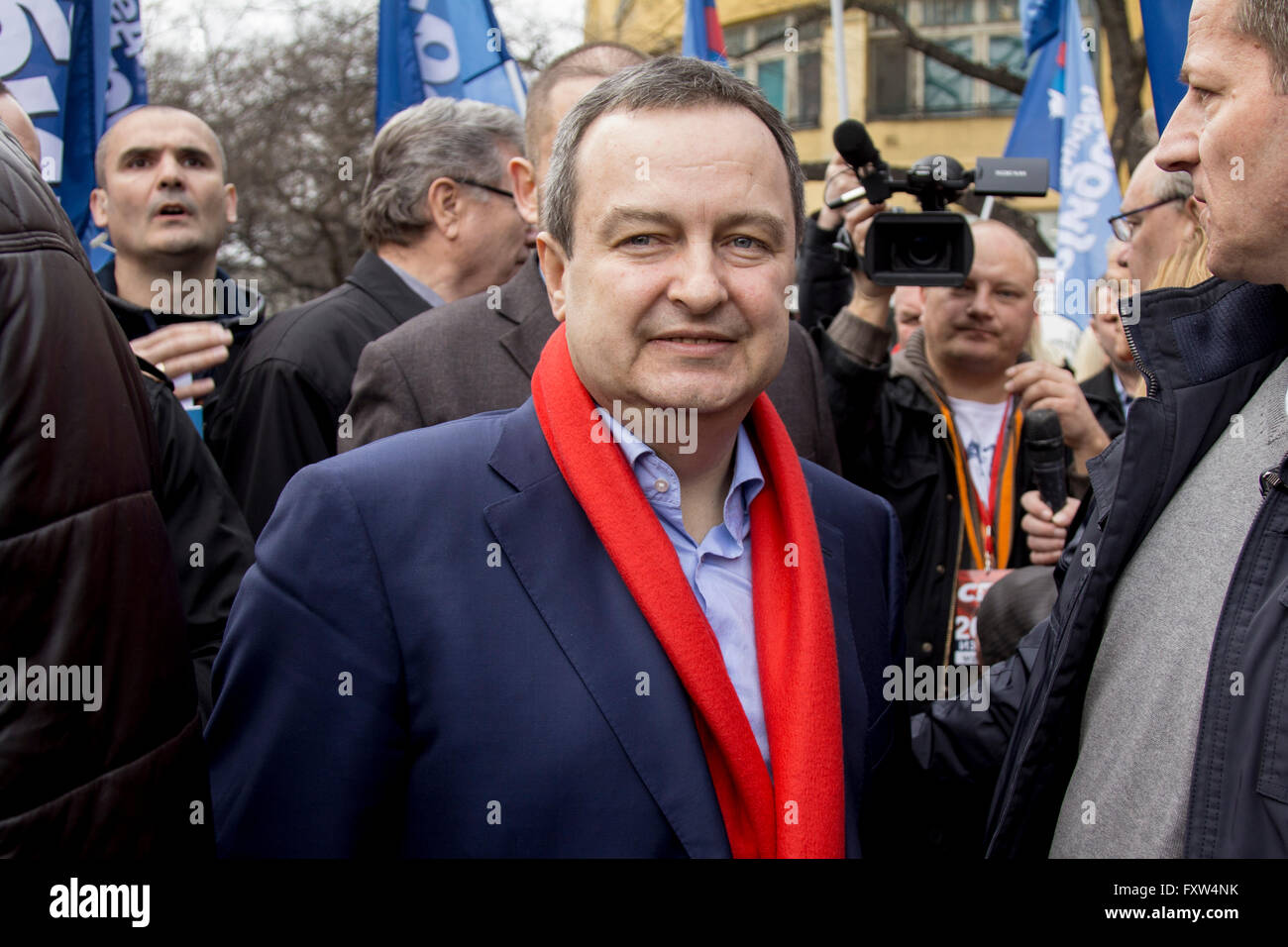 Ivica Dacic, Serbian minister of foreign affairs & president of the Serbian Socialist Party holds a speech in - Stock Image