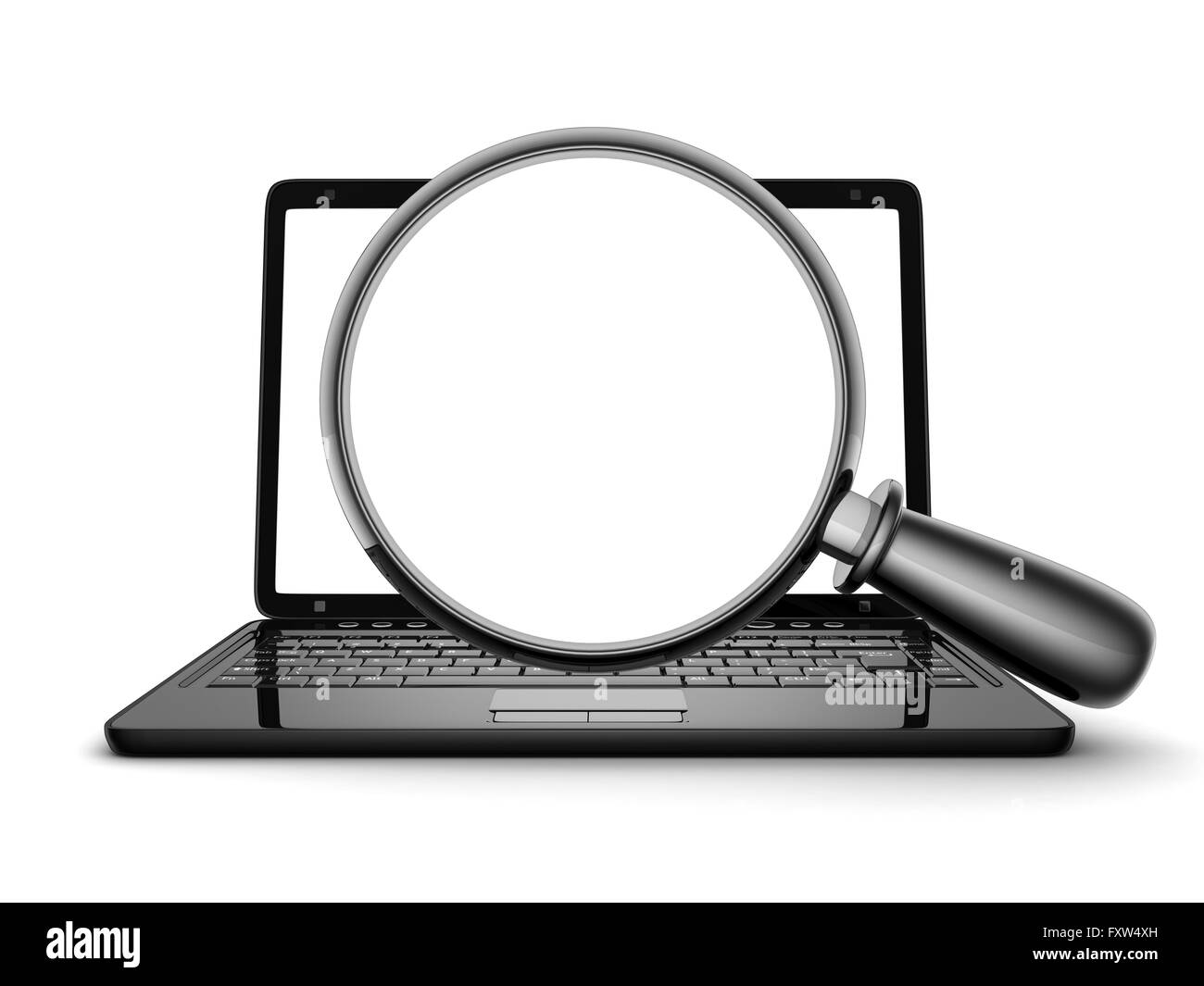 Laptop and lens (done in 3d, symbol search) - Stock Image