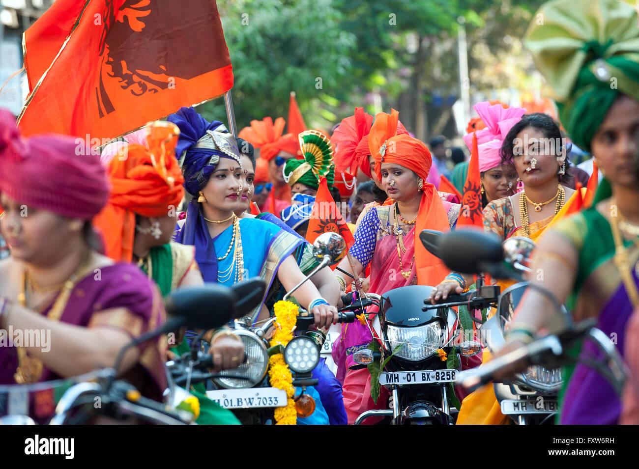 The image of procession  was shot in Girgaon Mumbai, Maharashtra, India - Stock Image