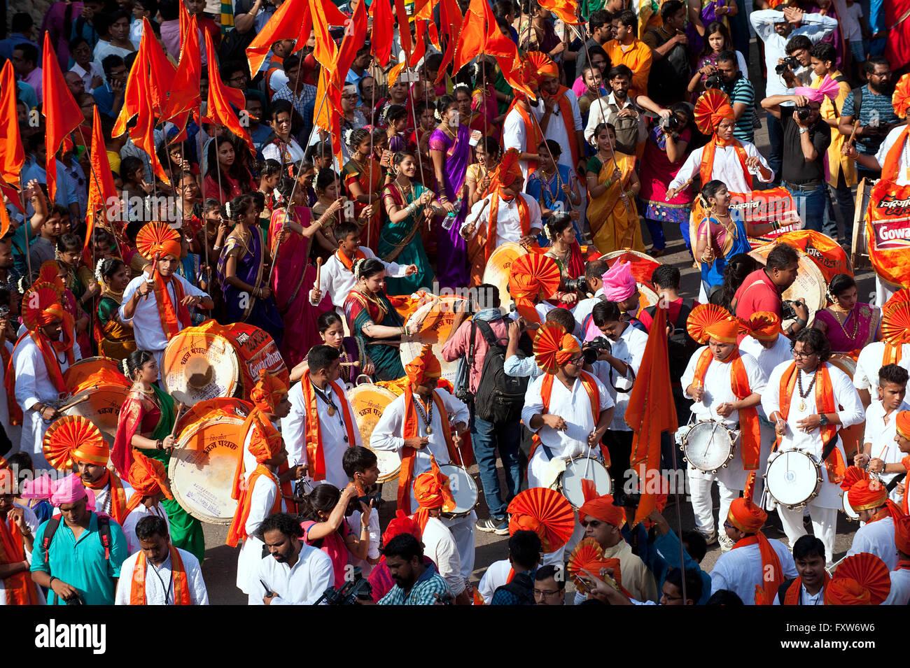 The image of procession  was shot in Girgaon Mumbai, Maharashtra, India Stock Photo