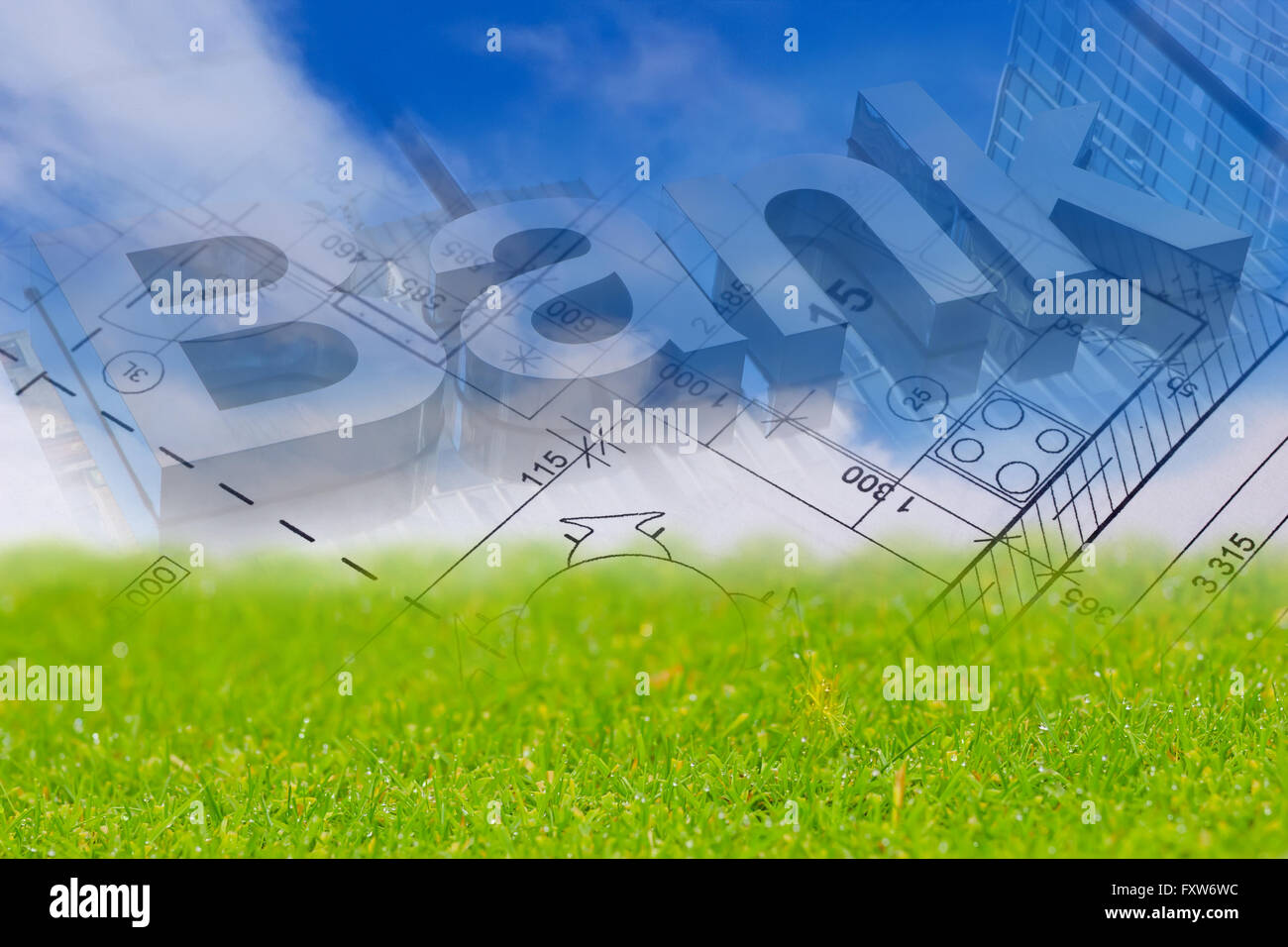Background with blue sky green land blueprint of a house and bank background with blue sky green land blueprint of a house and bank sign malvernweather Choice Image
