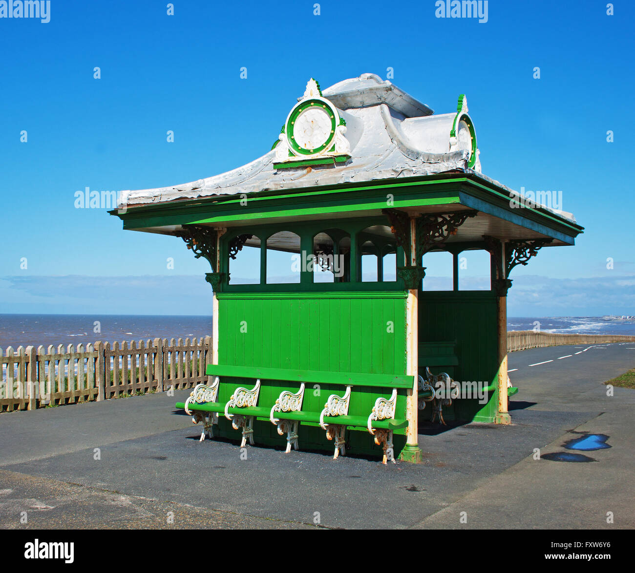 Victorian shelter on the promenade at Bispham, north of Blackpool Stock Photo