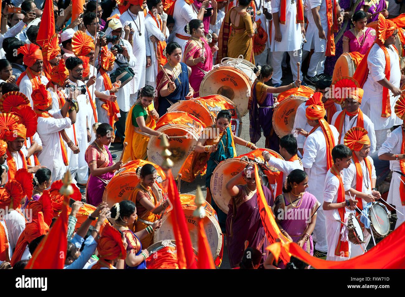 Ladies, Guddi Padwa Marathi New year procession - Stock Image