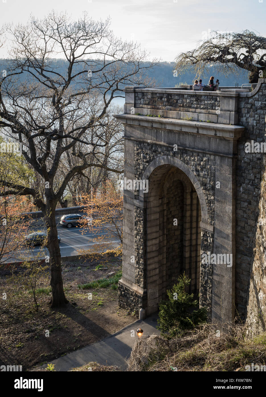 View of the Billings Arcade from the South in Fort Tryon Park, New York City, a grand arcade built from Maine granite. - Stock Image