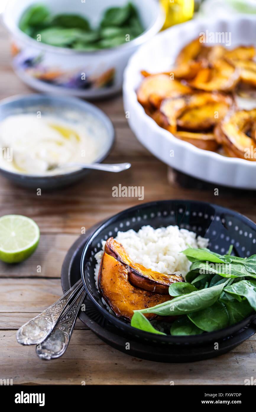 Roasted pumpkin salad - Stock Image