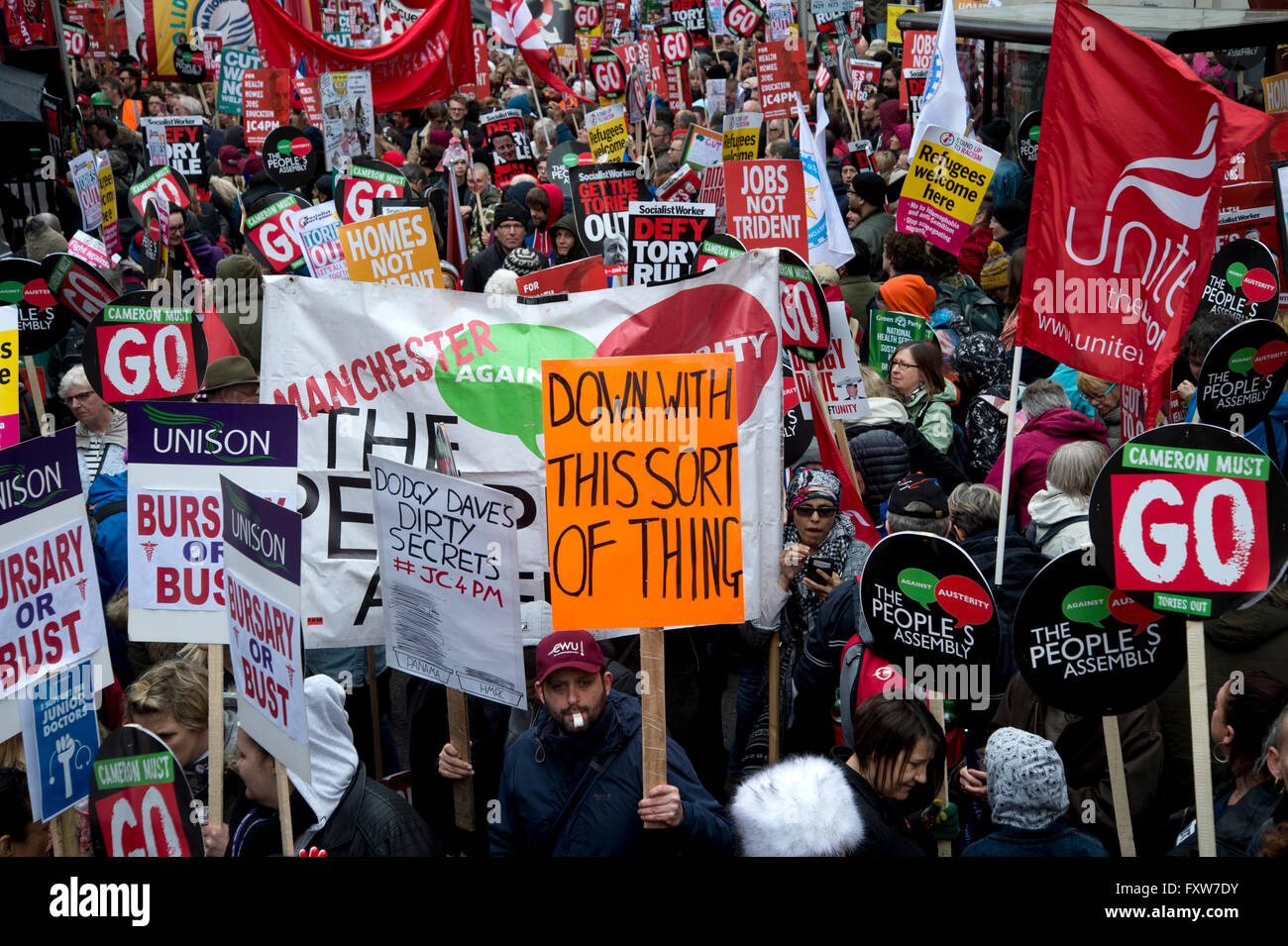 March ,organised by the People's Assembly,  against austerity measures affecting health, education, housing - Stock Image