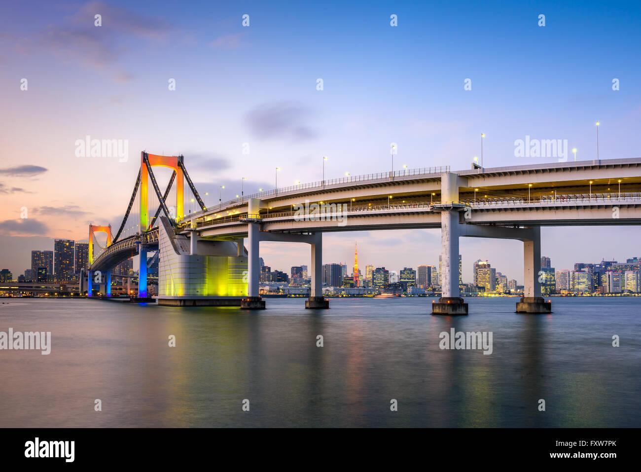 Tokyo, Japan at Rainbow Bridge. - Stock Image
