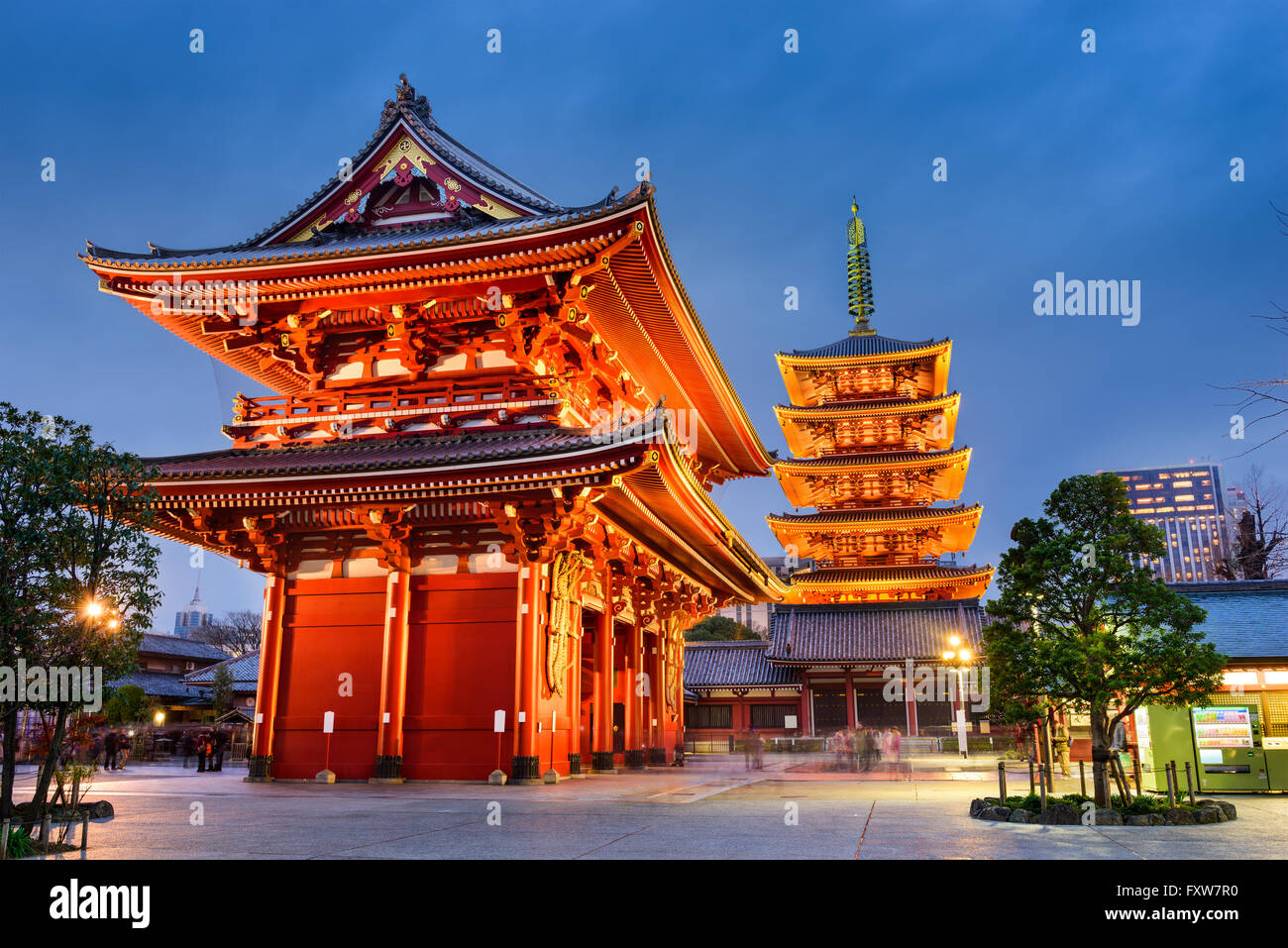 Asakusa, Tokyo at Sensoji Temple's Hozomon Gate and five storied pagoda. - Stock Image