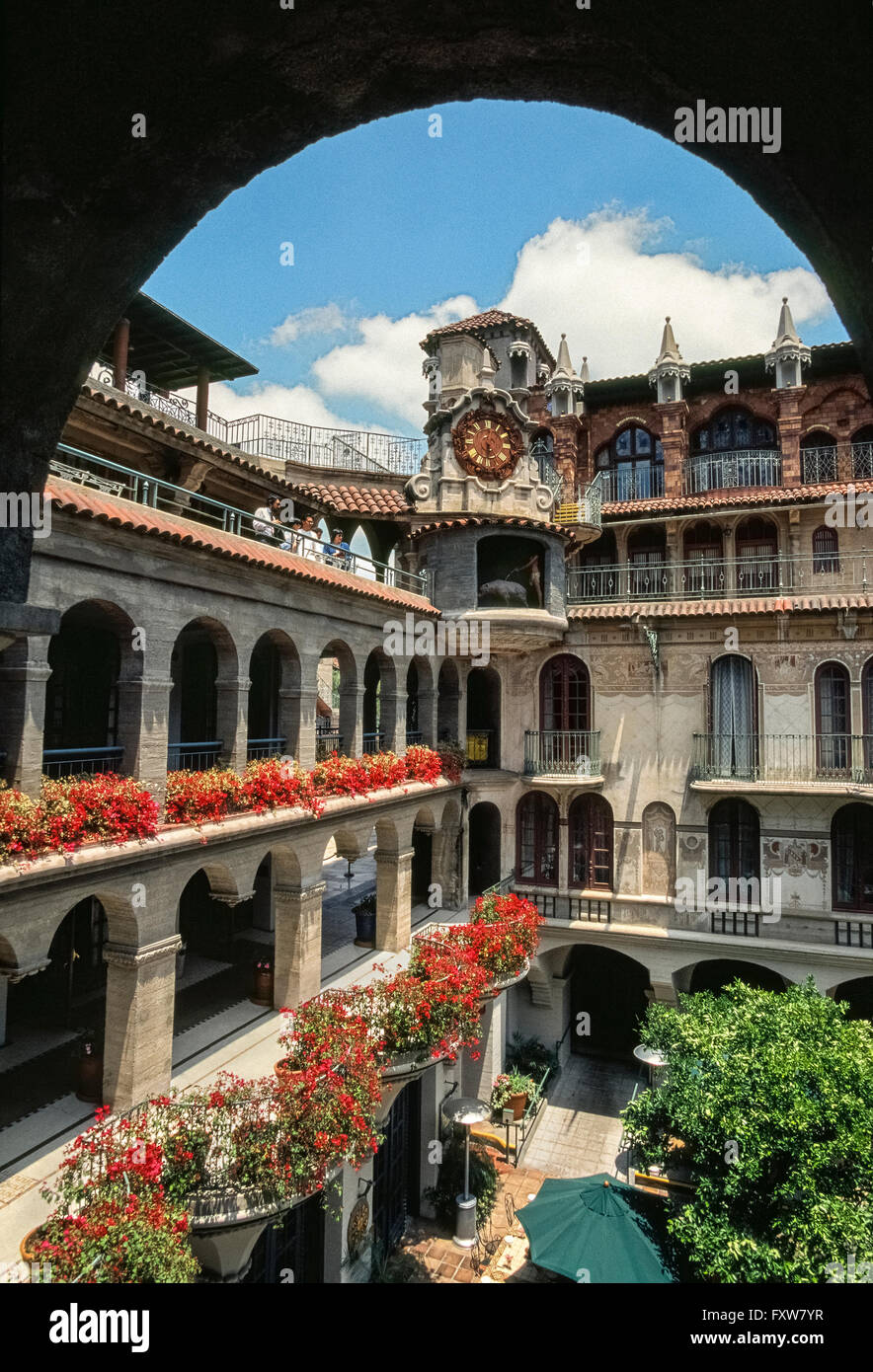 The historic Mission Inn that has long attracted U.S. Presidents, royalty, movie stars and business tycoons to the - Stock Image