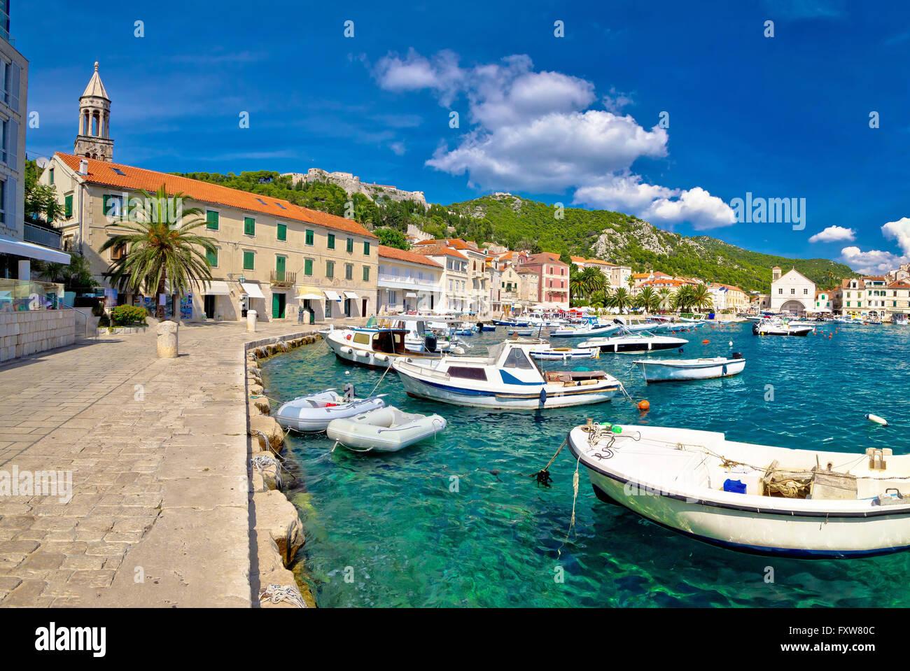Scenic coast of town Hvar, Dalmatia, Croatia - Stock Image