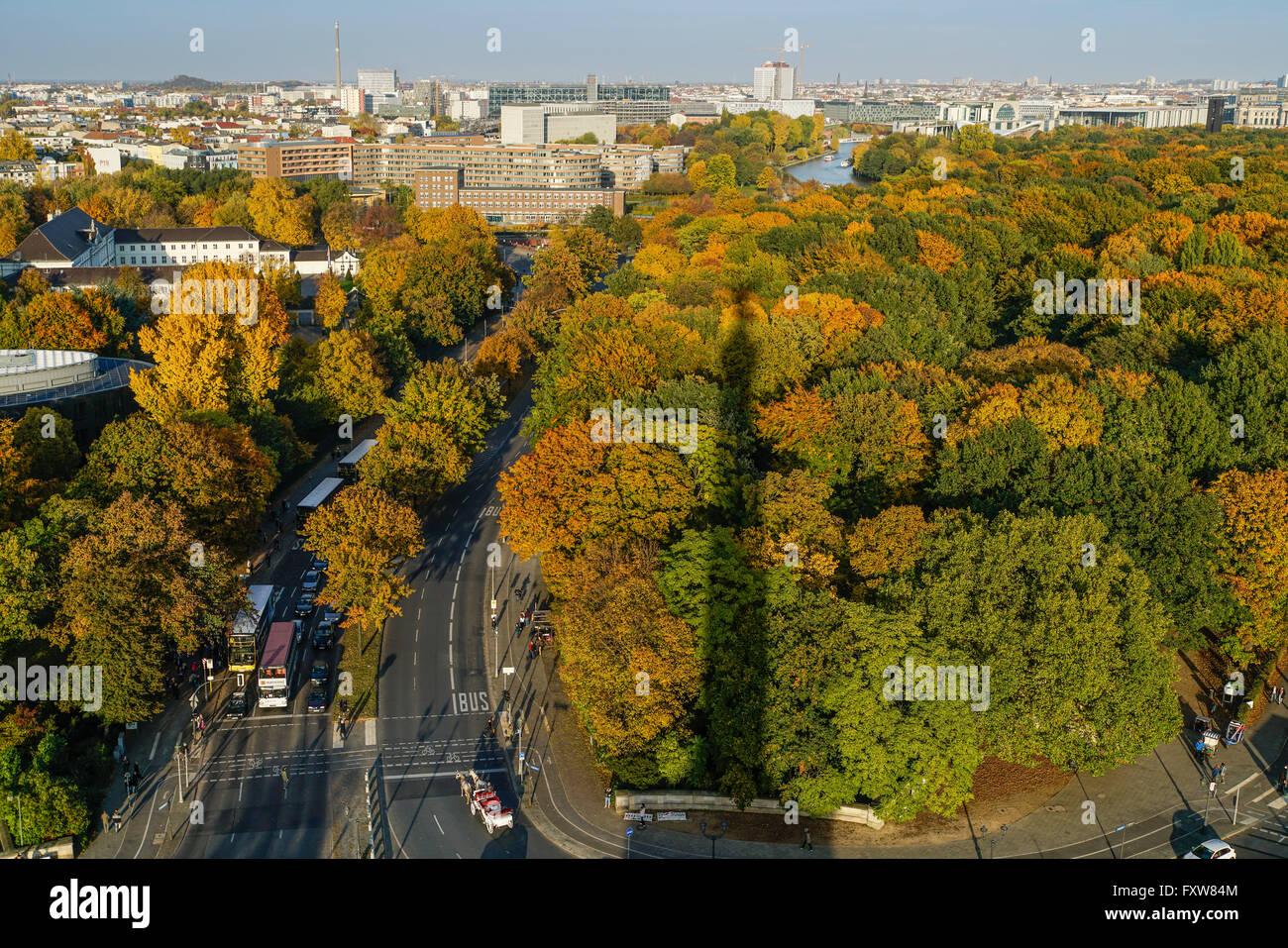 Tiergarten in autumn,View from victory column, castle Bellevue,  Berlin - Stock Image