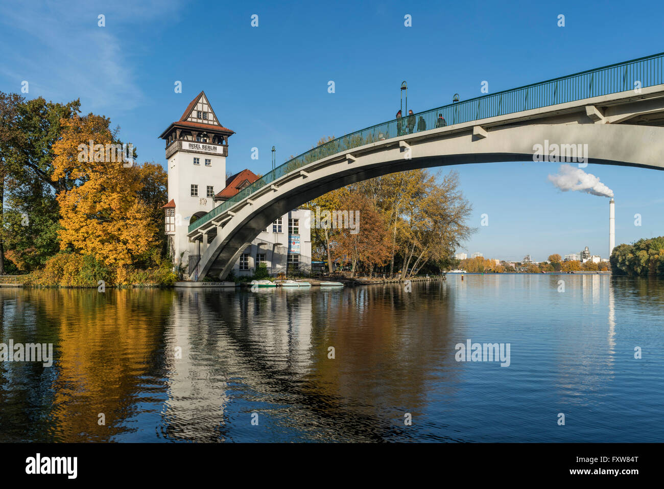 Island of Youth, autumn,  Insel der Jugend,  Treptow, Spree, Berlin Stock Photo