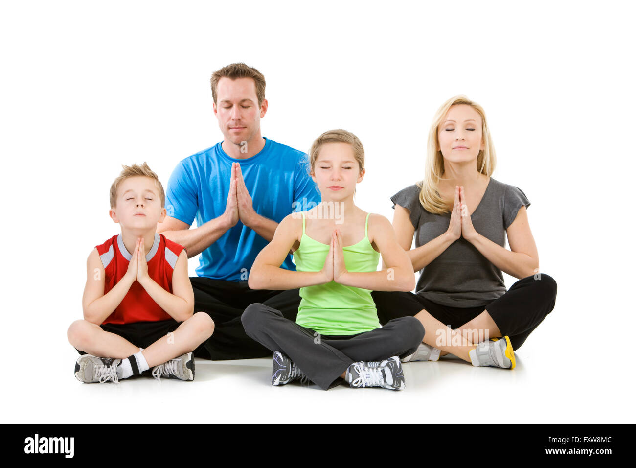 Isolated on white series of a Caucasian nuclear family in casual wear, and fitness clothing.  Mom, dad, brother - Stock Image