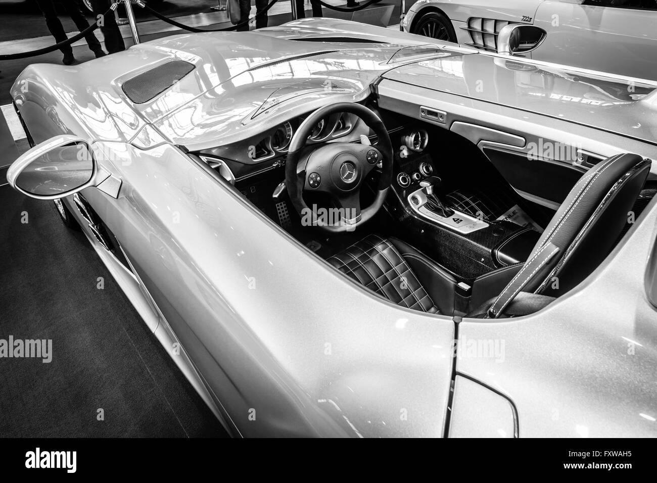 Cabin of grand tourer car Mercedes-Benz SLR Stirling Moss (limited edition, 75 vehicles), 2009 - Stock Image