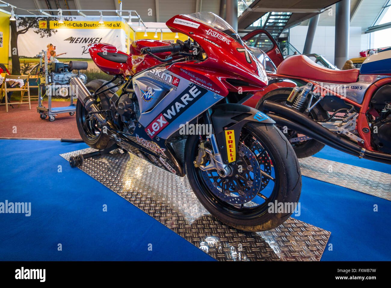 Motorcycle MV Agusta F3 STICK EM, 2013. Europe's greatest classic car exhibition 'RETRO CLASSICS' - Stock Image