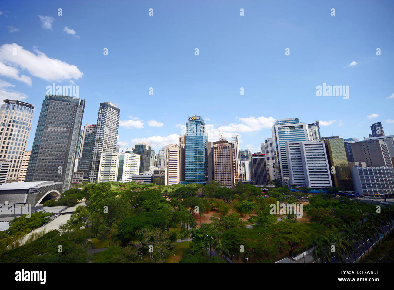 TALL BUILDINGS FROM PENINSULA HOTEL MANILA PHILIPPINES ASIA 18 April 2015 - Stock Image