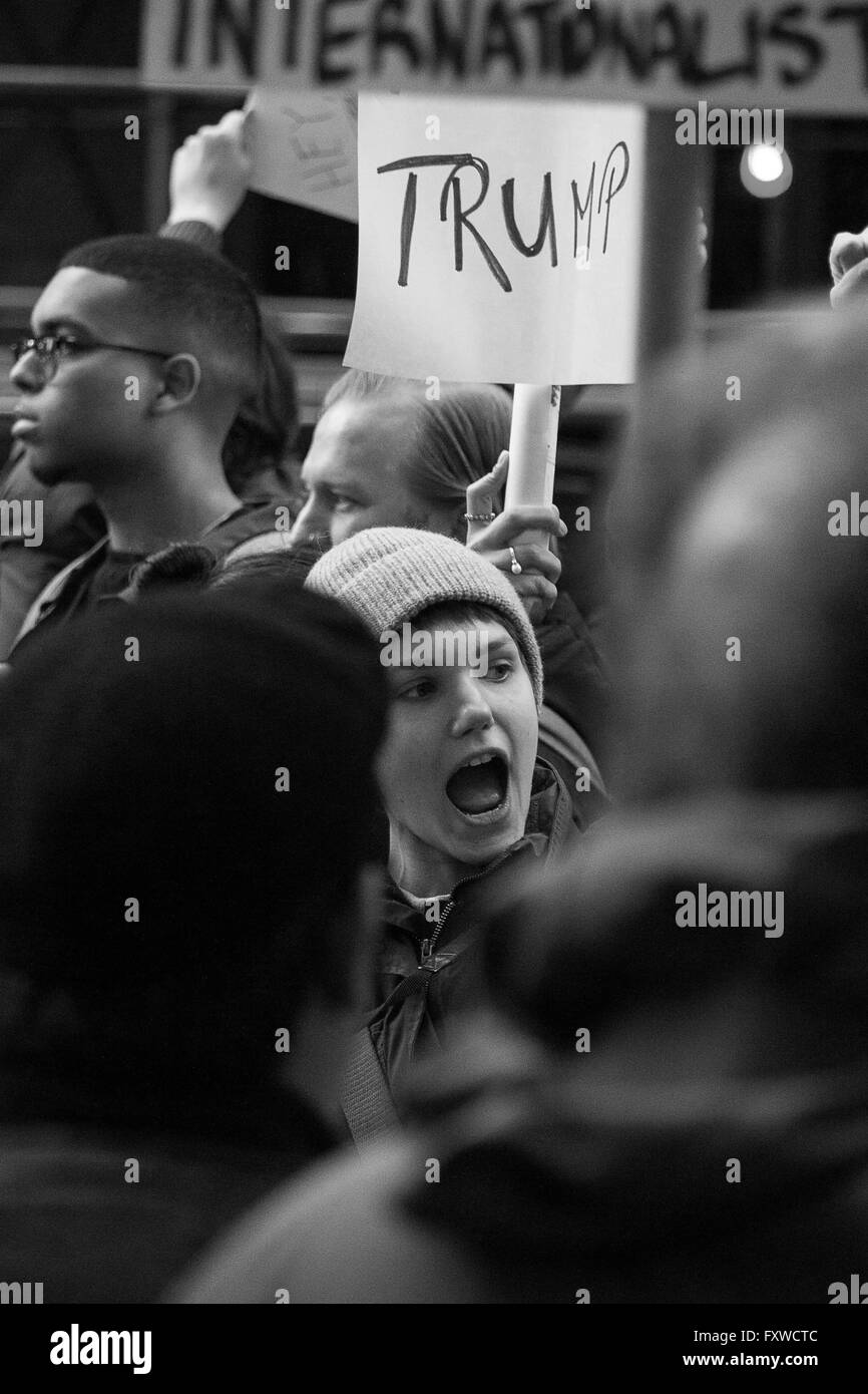 Trump supporter- A young woman voices her support of Republican Donald Trump during an anti-Trump rally in NYC on - Stock Image