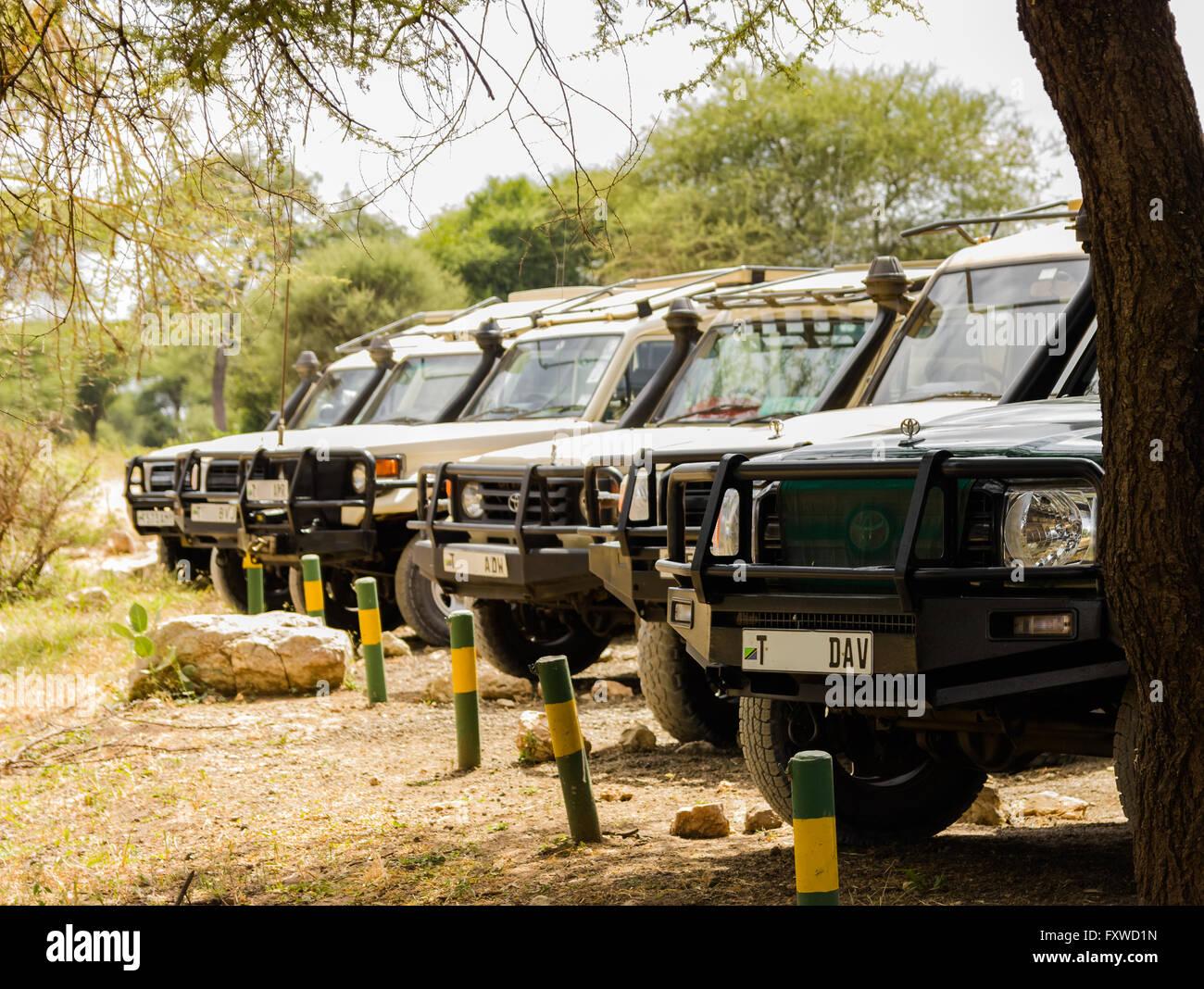 Safari vehicles parking at Main Entrance Gate, Tarangire National Park, Tanzania - Stock Image