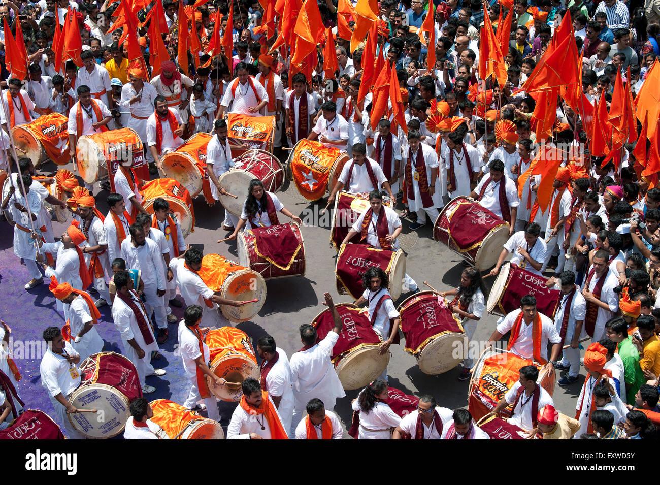 Band, Guddi Padwa Marathi New year procession - Stock Image