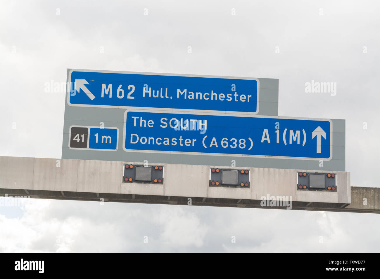 A1(M) South sign at the junction of the A1 and M62 motorways Stock Photo