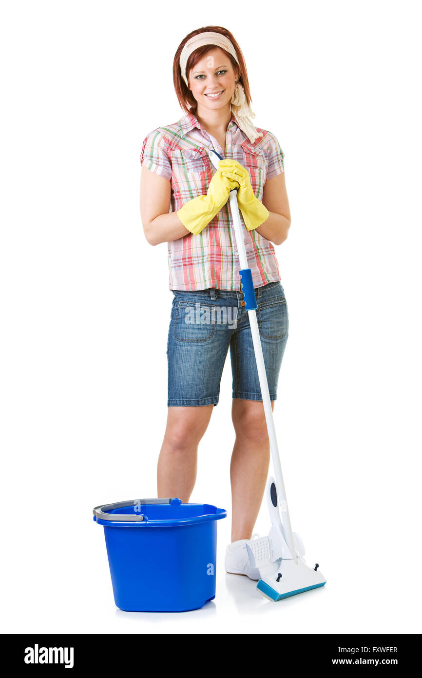 Extensive series on Spring Cleaning, with a pretty female.  Lots of buckets, sponges and brooms! - Stock Image