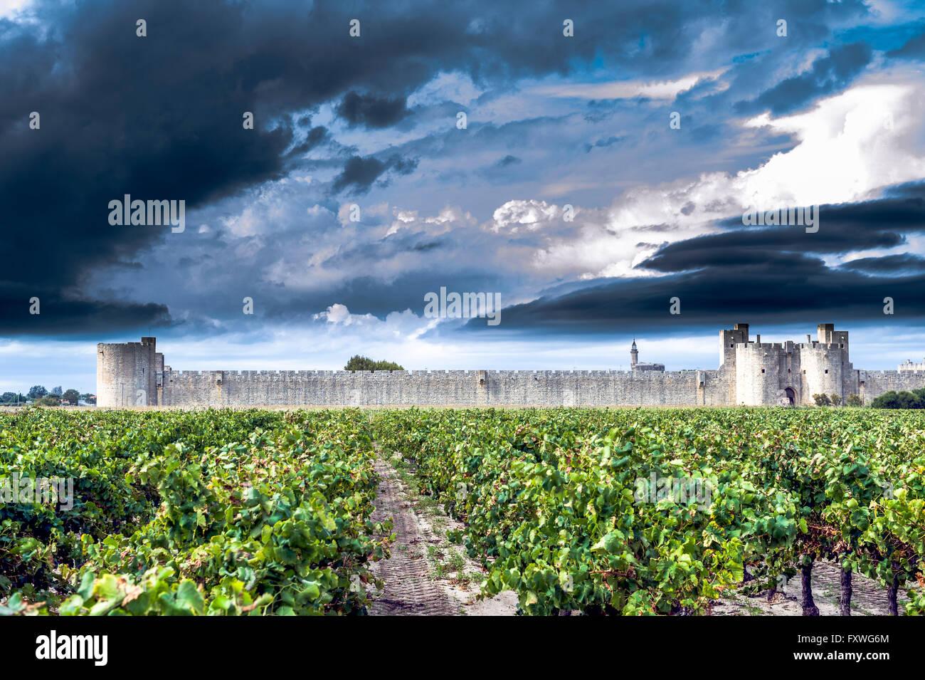 Europe, France, Gard. Aigues-Mortes. City wall of Aigues-Mortes. - Stock Image
